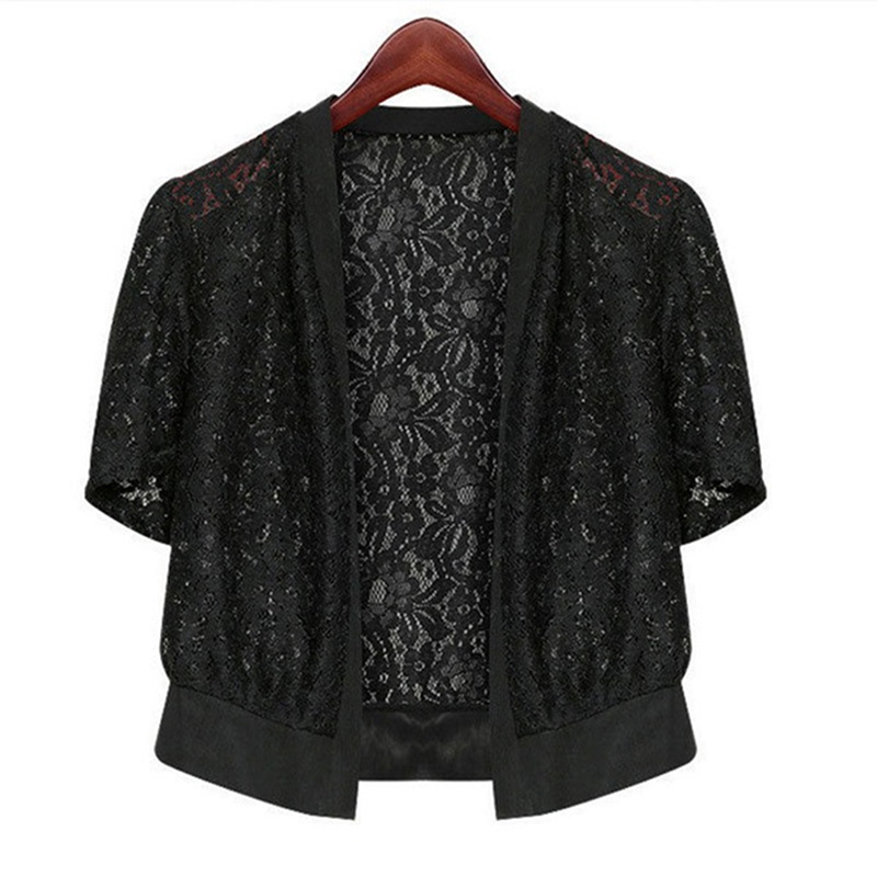 2020 Thin Cardigan shirt Women Spring Summer Silk Cotton Knit Loose Three Quarter Sleeve white Lace tops