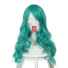Sailor Moon Kaiou Michiru Wigs Cosplay Costume Sailor Neptune Long Green Curly Heat Resistant Synthetic Hair Wig+ Hairnet