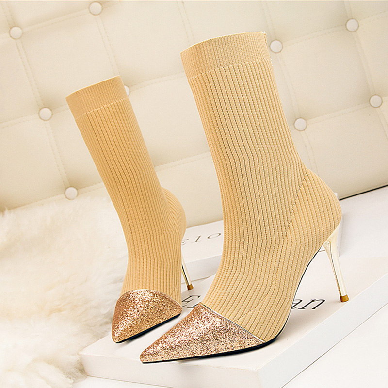 US $20.98 39% OFF|2020 Luxury Women Sparkly 9cm High Heels Glitter knitting Boots Stiletto Bling Ankle Boots Stretch Sock Boots Big Size Shoes on