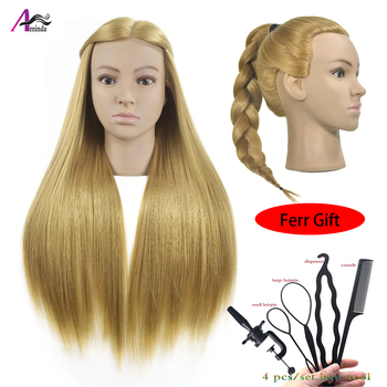 """26 Blonde Synthetic Hair Soft PVC Mannequin Head Cosmetology Hairdressing Training Head Dummy Doll with Clamp alileader 26"""" synthetic blonde black hair training mannequin head cosmetology hair salon hairdressing practice doll manikin head"""