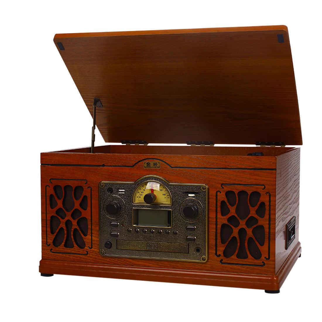 Ретро виниловый проигрыватель аудио лента CD Bluetooth старомодный винтажный граммофон поворотные столы-Oak US Plug