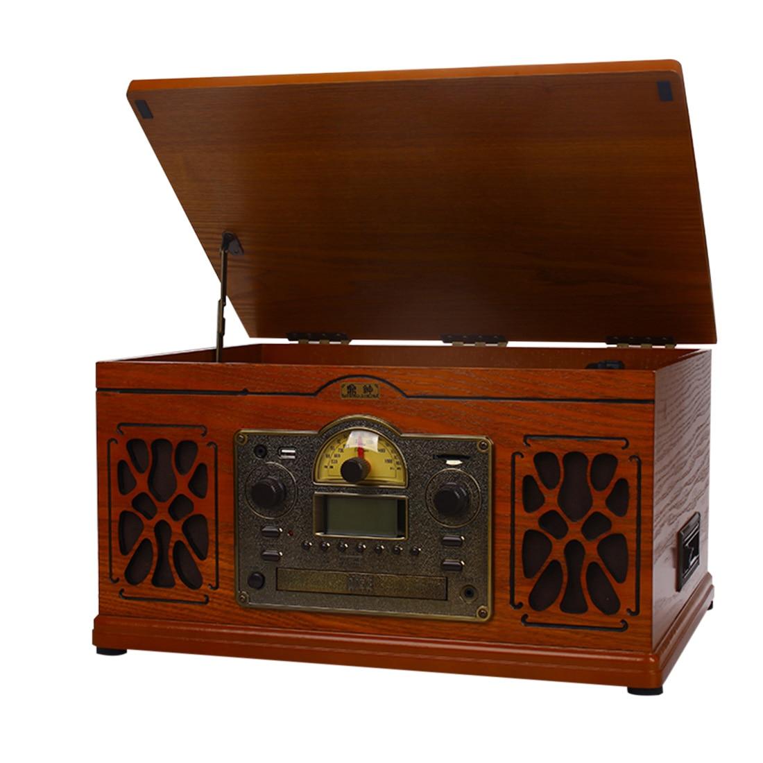 Rétro vinyle lecteur de disque Audio bande CD Bluetooth à l'ancienne Vintage phonographe platines-chêne prise américaine
