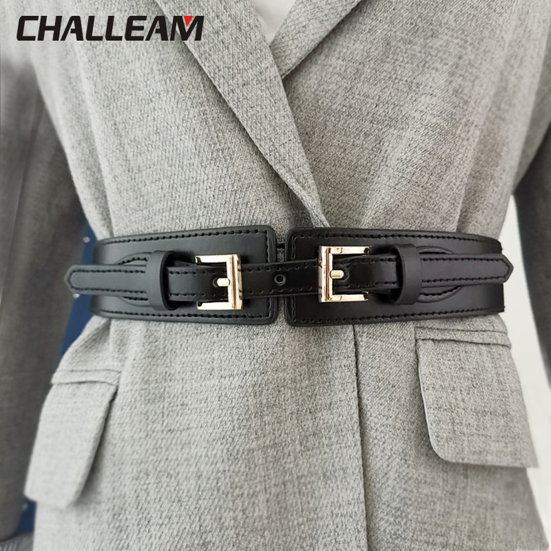 Ladies Belt Fashion Wide Belt Elastic Waist Seal Double Buckle Elastic Belt Female Decorative Dress Sub Coat Sweater Belt X213