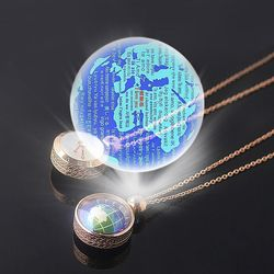 Eternal Love 100 Language I Love You Projection World Map Necklace 360° Rotatable Double-sided 5:20 Clock Pendant Necklace Gift