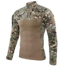 Camisa de combate táctico militar, ropa de asalto del ejército, Tops Tatico elástico largo de manga, camisetas de camuflaje para caza y pesca
