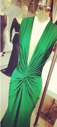 free shipping robe de soiree 2016 new sexy deep v-neck vestidos de festa green long party formal gown evening elegant Dresses