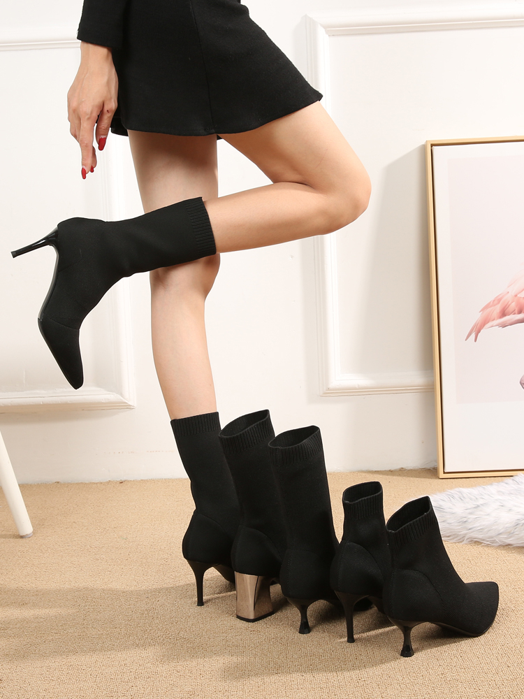 Short-Boots Spring Fine-Heels Knitted Autumn Women Thin Skinny And