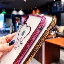 Trblietavý obal pre iPhone so srdcom 3farby