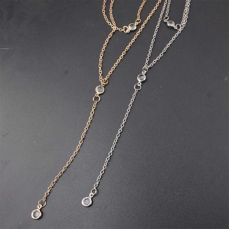 מכירה רב שכבתי ארוך שרשרת ציצית שרשרת מקסים נשים זהב צבע Boho חוף סקסי גוף תכשיטי קריסטל תליון