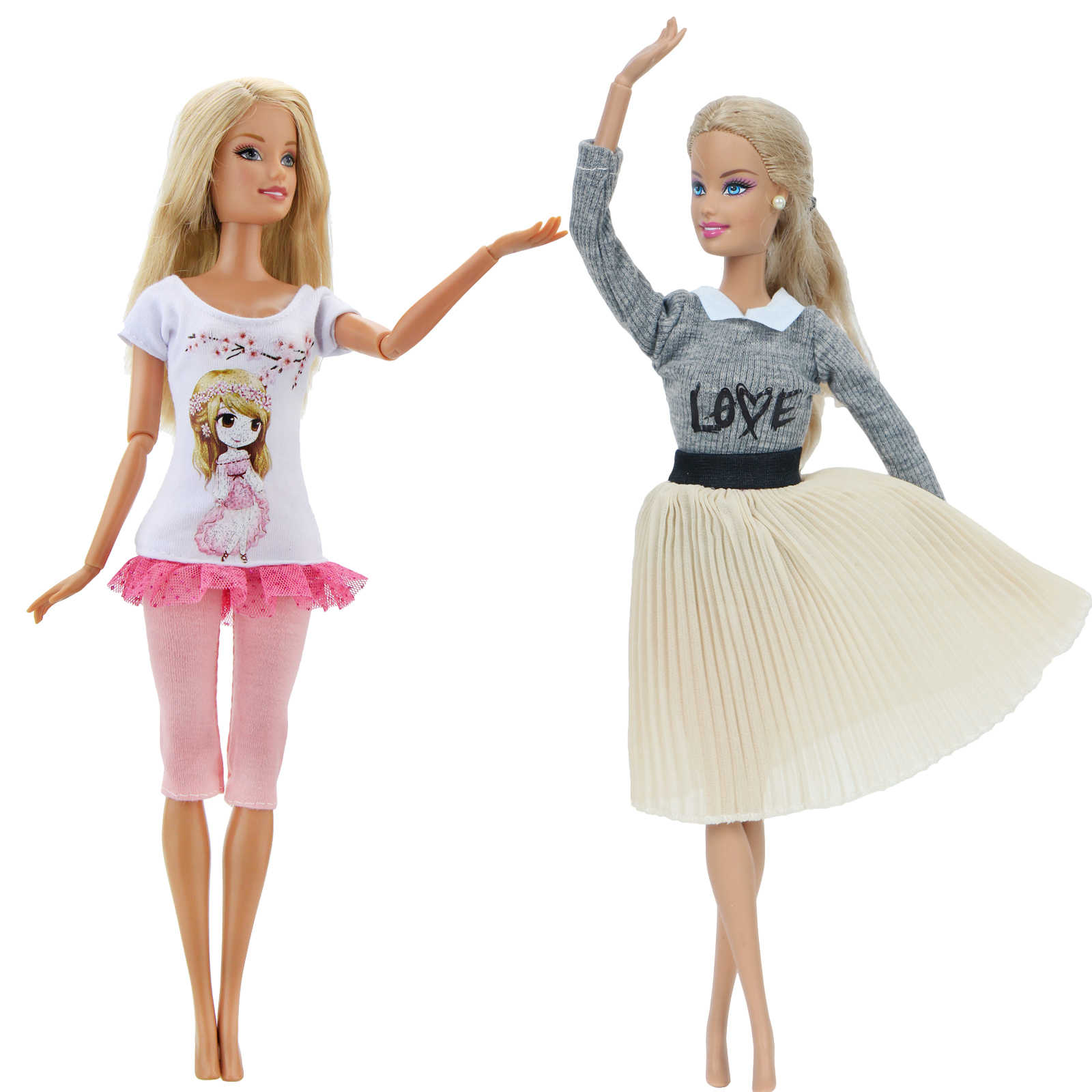 2 pçs/lote Artesanal Boneca Outfit Saia Vestido para Barbie Doll Desgaste Diário Casual Gêmeos Roupas Acessórios Rosa Azul Crianças Brinquedo
