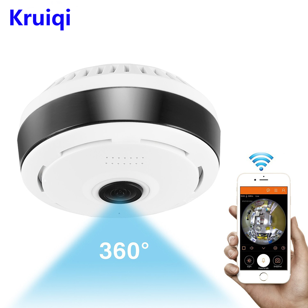 Kruiqi Mini Wifi IP Camera 1080P 360 Degree Camera IP Fisheye Panoramic 2MP WIFI PTZ IP Cam Wireless Video Surveillance Camera