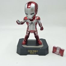 Iron Man Egg Attack Action Figure Iron Man 2 Mark 5 American Superhero Model Toys Iron Man Collectible Figurines W Light Base egg attack eaa 036 iron man 3 mark 42 mk xlii pvc action figure collectible model toy with led light