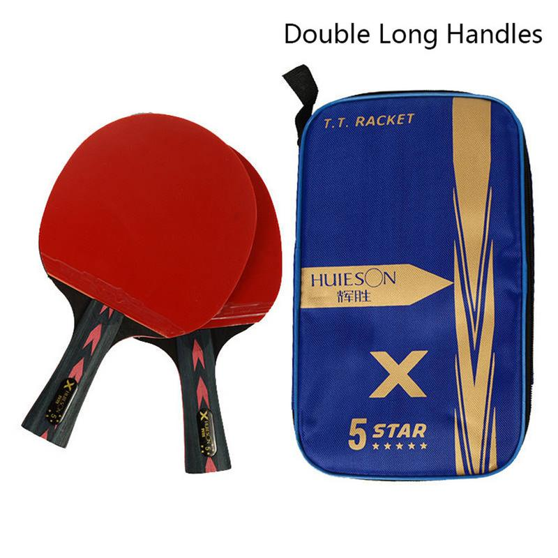 2Pcs Upgraded 5 Star Carbon Table Tennis Racket Set Lightweight Powerful Ping Pong Paddle Bat With Good Control Dropshipping