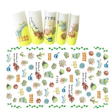 цена на Nail Sticker 3D Flower Water Decals Charm Slider Transfer Adesivo Leaf Plant Red Summer Nagels Stickers Manicure Nails Art Tips