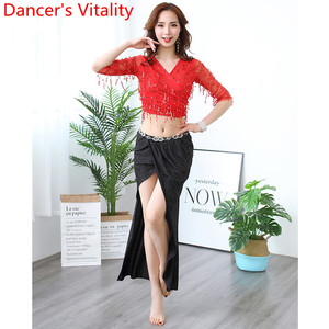 Image 3 - Belly Dance Practice Clothes Sequin Tassel Cut out Sleeve Top Skirt Set Women Beginners Beginners Oriental Indian Dancers Wear