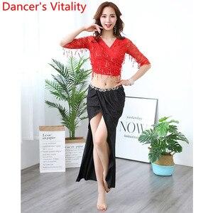 Image 3 - Oryantal dans uygulama elbise pullu püskül Cut out kollu üst etek seti kadın yeni başlayanlar için yeni başlayanlar için oryantal hint dansçıları giyim