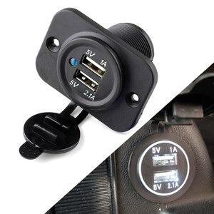 Image 1 - 1 Pcs 12V אוניברסלי USB הכפול מתאם מטען עמיד למים שקע חשמל 1A & 2.1A לרכב סירת אופנוע עבור טלפון GPS iPod וכו