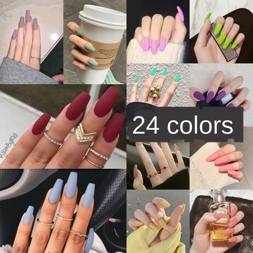 Nail Art Fake Nails Stiletto Tips Clear Press on Long False with Glue Coffin Stick Display Full Cover Artificial Designs Matte 1