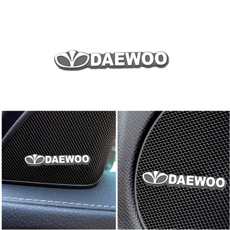 3D Auto Styling Sticker Aluminium Embleem Interieur Speaker Audio Badge Voor Daewoo Matiz Nexia Lanos Kalos Gentra Nubira Espero Dama