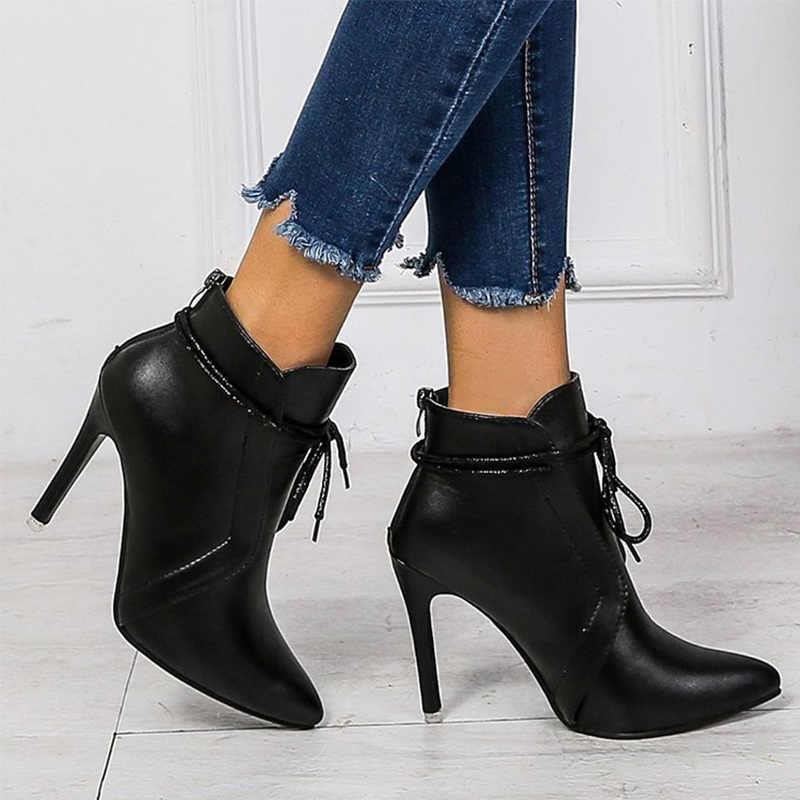 ผู้หญิงฤดูใบไม้ร่วงชี้ Toe รองเท้าส้นสูงซิปรองเท้าข้อเท้ารองเท้าผู้หญิงลูกไม้ Charm แฟชั่นหญิง PU หนังรองเท้าผู้หญิง