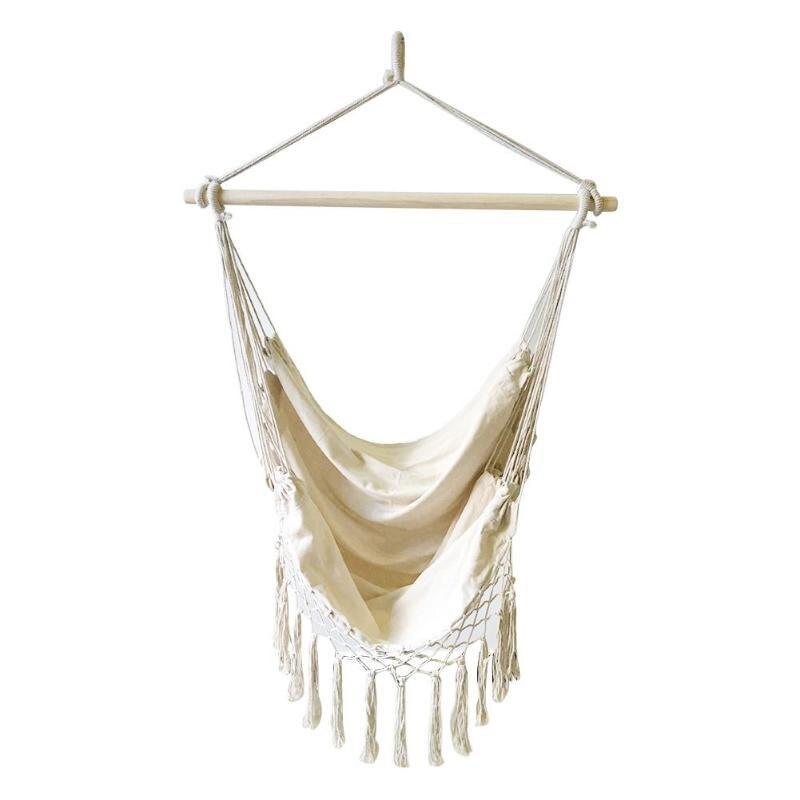 Beige Hanging Tassels Hammock Bohemia Style Cotton Rope Net Chairs Portable Outdoor Indoor Garden Bedroom Bars Seats