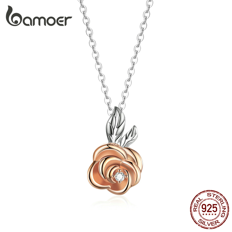 bamoer 3D Vivid Rose Flower Pendant Necklace for Women 925 Sterling Silver Rose Gold Color Korean Style Fine Jewelry BSN155