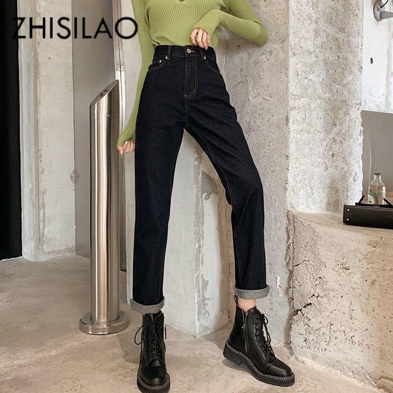 Vintage Straight Jeans Women High Waist Harem Jeans Mujer Black Loose Retro Denim Pants Boyfriend Mom Jeans 2020 Plus Size