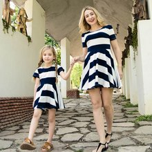 Summer Family Look Mother Daughter Dresses Short-sleeved Striped Parent-child Dress Mommy and Me Clothes Mom and Baby Clothes