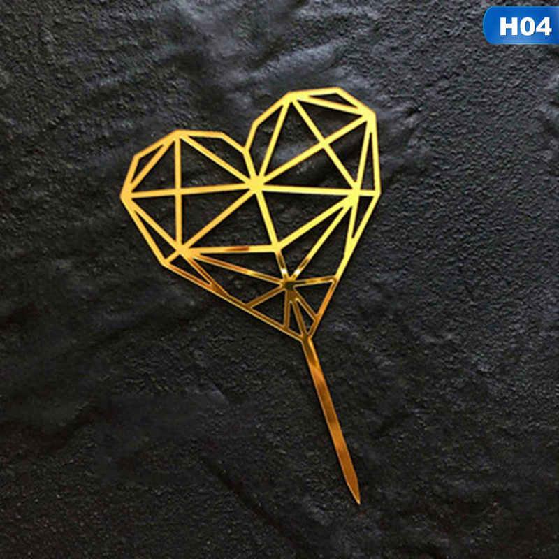 Ouro Prata Acrílico Coleção Coração Sobremesa Decoração Do Bolo Topper Para O Aniversário Do Partido Presentes Bonitos Insert Partido Decoração
