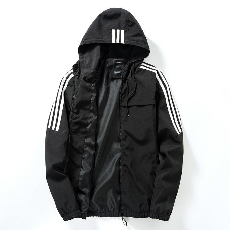 Men's Casual Striped Bomber Jacket Trend Hoodie Baseball Collar Streetwear Men's Windbreaker;YA056