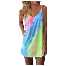 Dresses Strappy Beach-Swing Summer Women's Mini Sleeveless Tie-Dye Gradient Adjustable