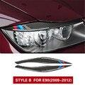 Углеродного волокна фары Брови Веки автомобильные наклейки для BMW E90 3 серии 2005-2012 передние фары брови автомобильные аксессуары