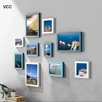 10 Pcs Classic Wooden Pictures Frames For Wall Hanging Picture Frame Mediterranean Style Picture Wood Photos Frames
