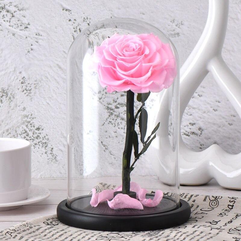 6 стилей,, свежие цветы красавицы и чудовища, красные вечные розы в стеклянном куполе, Рождественский подарок на день Святого Валентина, Прямая поставка - Цвет: pink rose