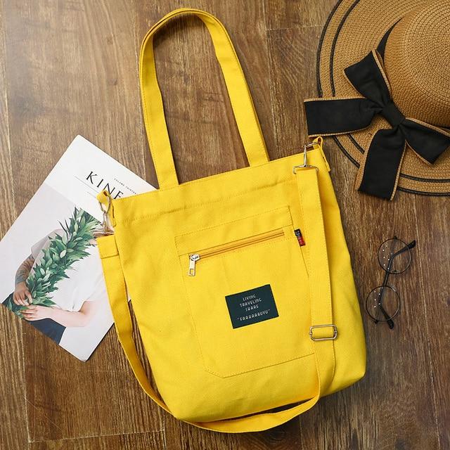 Patchwork Shopping Bag Single Shoulder Black Yellow Canvas Cloth Zipper Reusable