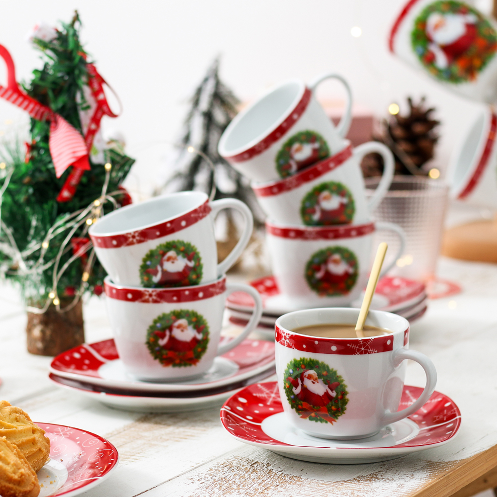 VEWEET SANTACLAUS 12-Piece Christmas Porcelain Drinkware Espresso <font><b>Coffee</b></font> Tea <font><b>Cups</b></font> and Saucers <font><b>Set</b></font> Gift Service for 6 Person image