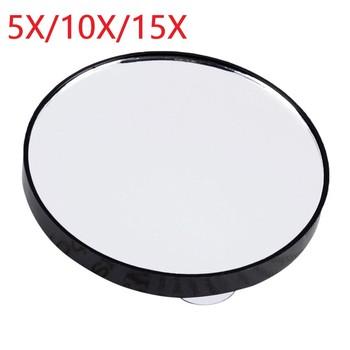 Przenośny Vanity Mini kieszonkowy okrągły makijaż lustro powiększające z dwoma przyssawkami kompaktowe lustro kosmetyczne narzędzie 5X 10X 15X tanie i dobre opinie Aichun Nie posiada CN (pochodzenie) ABS+glass 88x88x9mm Suction Cup Makeup Mirror 5X 10X 15X