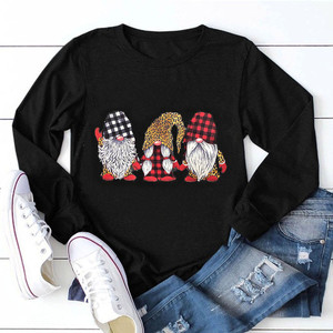 T-shirty damskie nadruk świąteczny O Neck T-shirt damski z długim rękawem Tshirt Casual Vintage Plus rozmiar bluzki damskie женские футболки