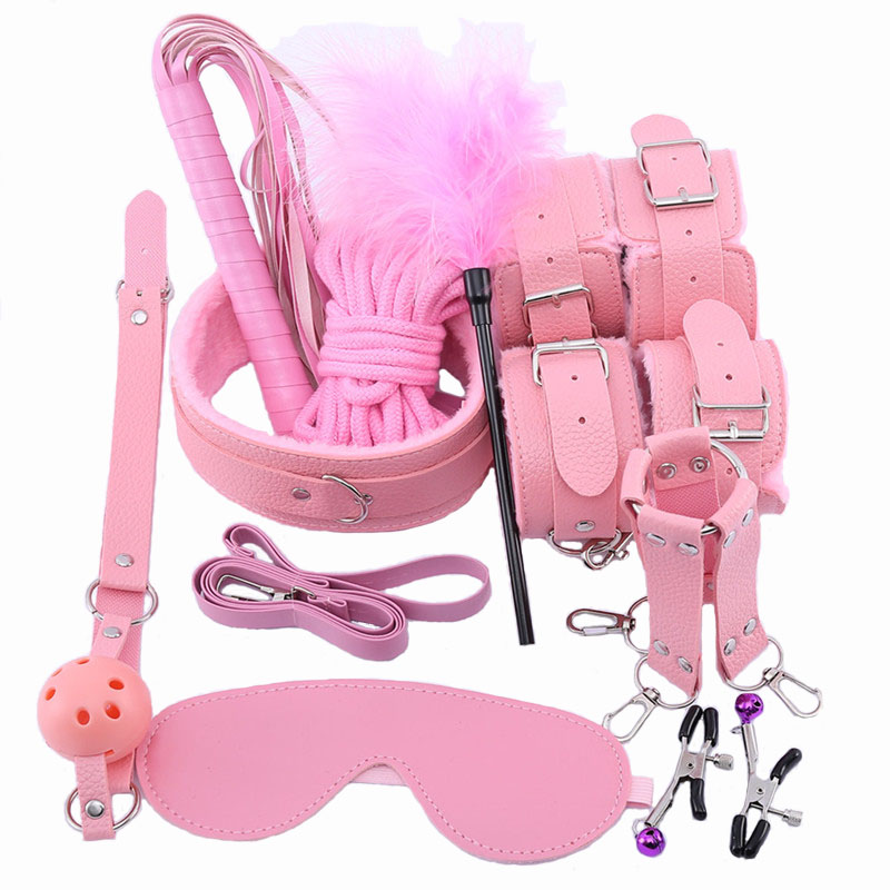 10 Pcs/set Sexy Lingerie PU Leather Bdsm Bondage Set Sex Hand Cuffs Footcuff Whip Rope Blindfold Erotic Sex Toys Intimate Goods