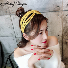 New Wide Side Hairband For Women Girl Hollow Head Bands  Knotted Cross Hair Bezel Lady Hoop Fashion Korean Accessories