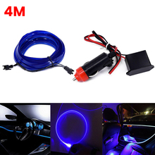 SUHU 4M Car LED Interior Ambient Foot Light Decor Atmosphere Optical Fiber Lamp Door Light Automotive Interior Decorative Lights