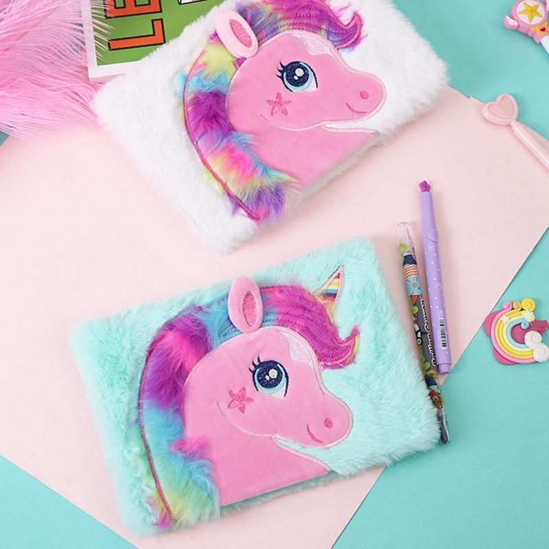 1 Pcs Cartoon Colorful Dream Unicorn Plush Notebooks Girls Portable Pocket Diary Planner Notepad Stationery Gift