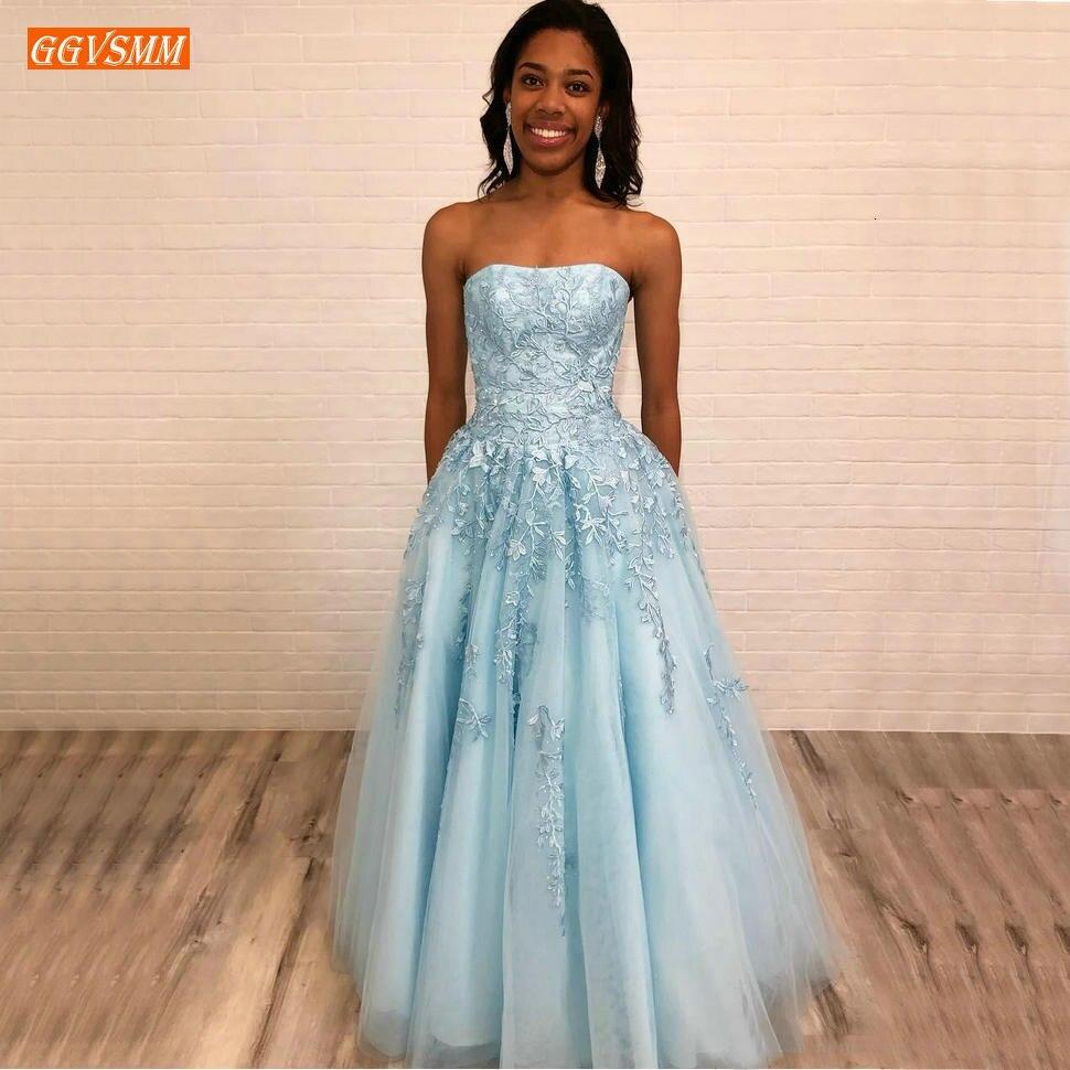 Boho à la mode bleu ciel bretelles robes de soirée longue Tulle Applique dentelle a-ligne robes de soirée longueur de plancher robe formelle fête nouveau