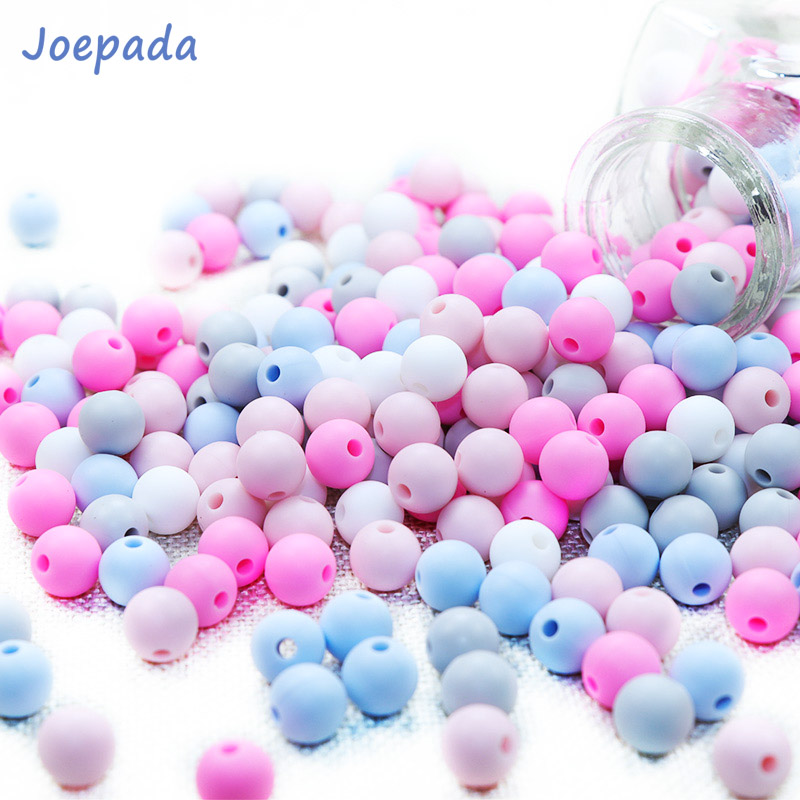 Joepada 50Pcs 9mm Silicone Round Beads Pearl Baby Teether Teething Chewed Beads Silicone BPA Free For Necklaces Pacifier Holder