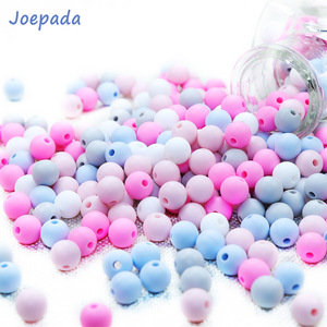 Joepada 50Pcs 9mm Silicone Round Beads Pearl Baby Teether Teething Chewed Beads Silicone BPA Free For Necklaces Pacifier Holder(China)