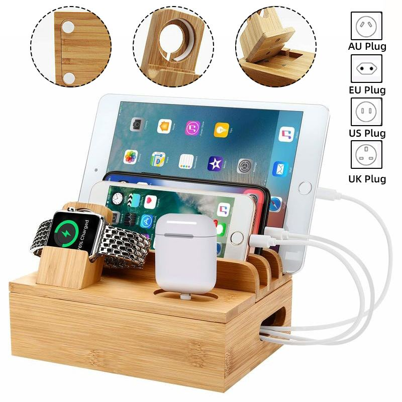 3in1 Bamboo Wood Desktop Stand For IPhone IPad Tablet Phone Stand Holder Charger Charging Dock Station For Apple Watch/Airpods