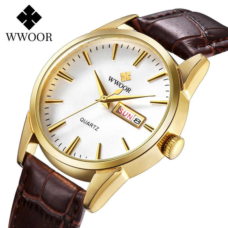 WWOOR 남자 시계 2020 패션 클래식 시계 남자 브랜드 럭셔리 골드 쿼츠 손목 시계 망 빈티지 가죽 날짜 시계