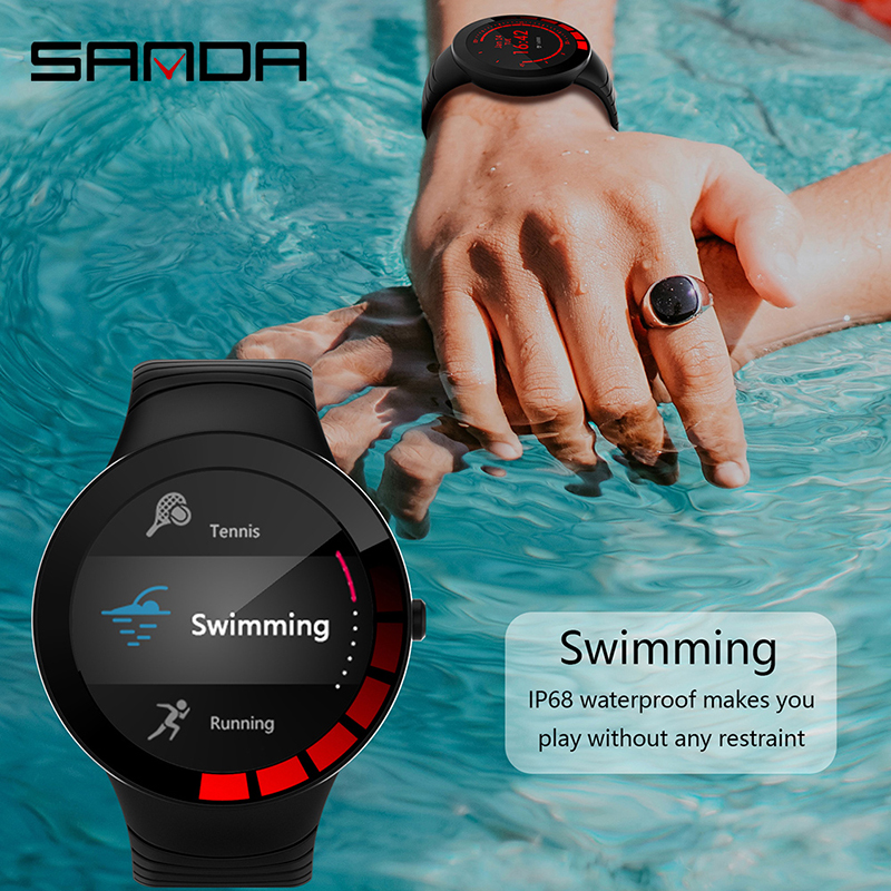 SANDA New IP68 Waterproof Smart Watch Women Bracelet Heart Rate Monitor Sleep Monitoring Smartwatch Connect IOS Android E3 Band