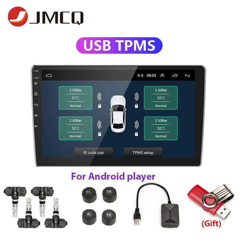 JMCQ TPMS USB car alarm Tire Pressure sensor Monitoring System Display Alarm System Internal Sensors Android Car Radio 4 Sensors