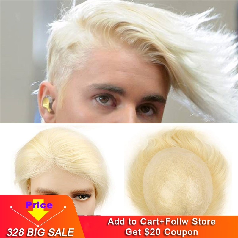 Eseewigs Men's Toupee Blonde Color 613 Straight Remy Human Hair Wigs Whole Skin PU All Hand Made Size 10x8 Hair Replacement